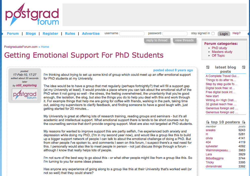Online Support Groups For Ph D  Students